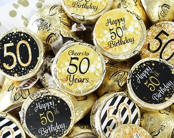 50th Birthday Party Decorations - Black and Gold 50th Birthday Party Favors - Stickers for Hershey Kisses - 180 Stickers