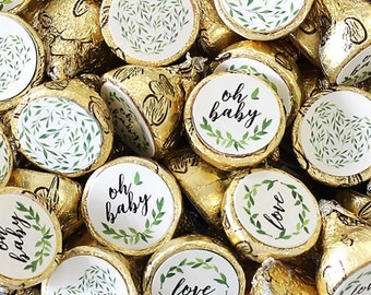Greenery Baby Shower Hershey Kiss Stickers, 180ct - Greenery Baby Shower Decorations - Gender Neutral Garden Theme Baby Shower Favors