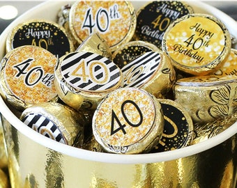 40th Birthday Decorations - Black and Gold 40th Birthday Party Favors - Stickers for Hershey Kisses - 180 Stickers