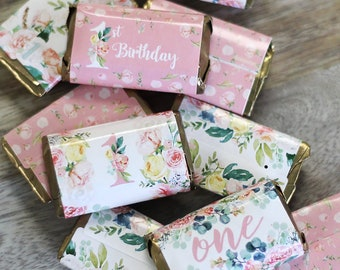 Floral 1st Birthday Candy Wrapper For Hershey Miniatures 54ct