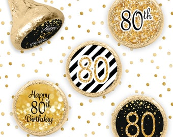 80th Birthday Party Decorations - Black and Gold Birthday Party Favors - Happy 80th Birthday Stickers for Hershey Kisses - 324ct Stickers