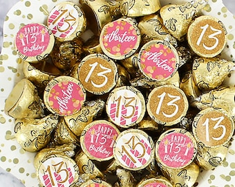 13th Birthday Hershey Kiss Stickers, 180ct | Pink and Gold 13th Birthday Decorations – 13th Birthday Favors for Girls – Happy 13th Birthday