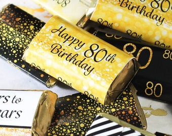 80th Birthday Candy Wrappers for Hershey Miniatures Bars, 45ct Stickers - 80th Birthday Decorations - Black and Gold Birthday Party Favors