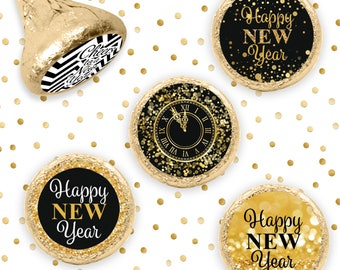 black and gold new years eve kiss party stickers 324 count