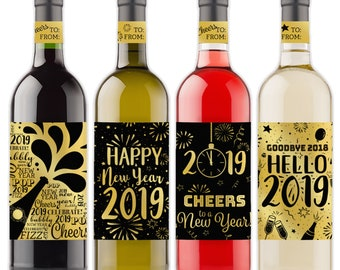 new years eve decoration wine bottle labels gold foil 2019 new year party decor stickers set of 4