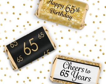 Black And Gold 65th Birthday Party Mini Candy Bar Stickers