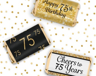 75th Birthday Candy Wrappers For Hershey Miniatures Bars 54ct Stickers
