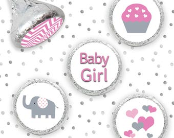 Pink Elephant Baby Shower Favors - Pink and Gray Elephant Baby Shower Decorations - Girl Baby Shower Stickers for Hershey Kisses - 324ct