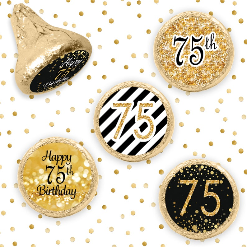 75th Birthday Decorations Black And Gold