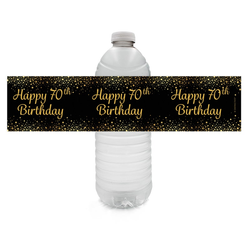 24ct Waterproof Stickers Water Bottle Labels Black and Gold Birthday Party Favors 70th Birthday Decorations