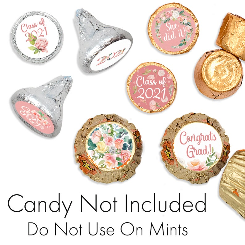 0.75 Round Party Favor Stickers for Hershey Kisses Pink Floral Class of 2021 Graduation Party Decorations 180 Flower Grad Stickers