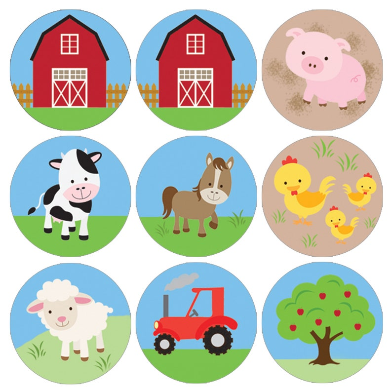 180 Count Barnyard Farm Animals Birthday Party Favor Stickers Horse Sheep and Chicken Barnyard Theme Labels for Kisses Candy Pig Cow