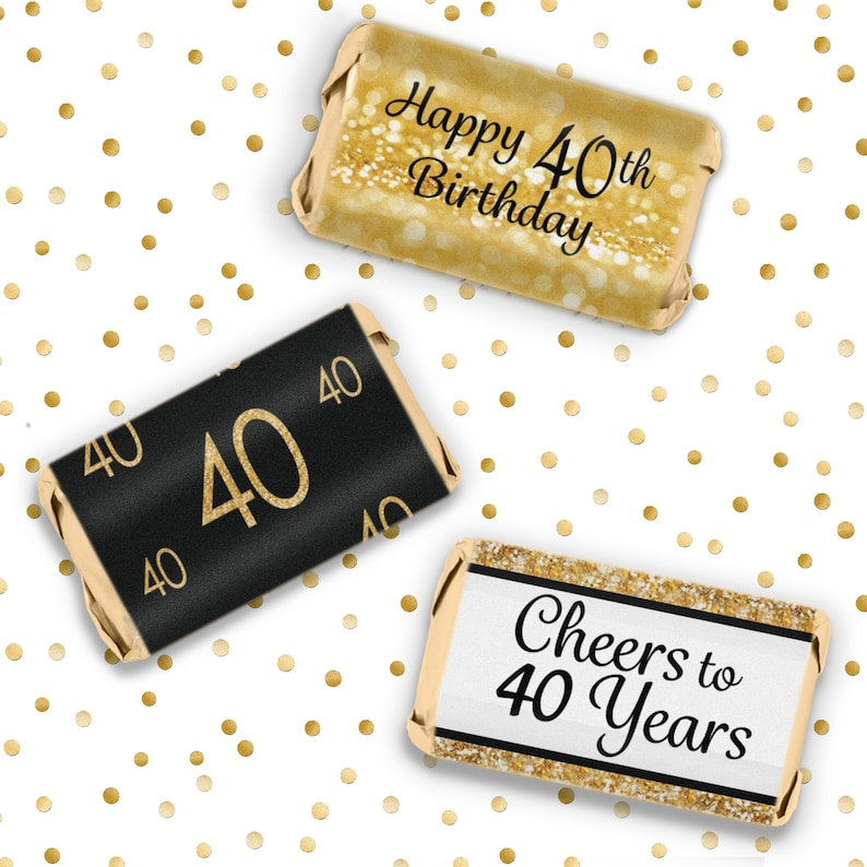 40th Birthday Decorations Black And Gold Party Favors