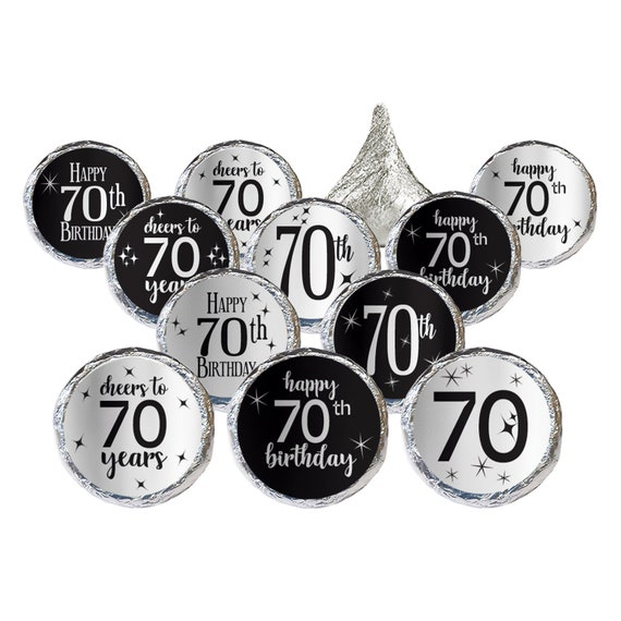 70th Birthday Decoration Silver Foil Stickers For