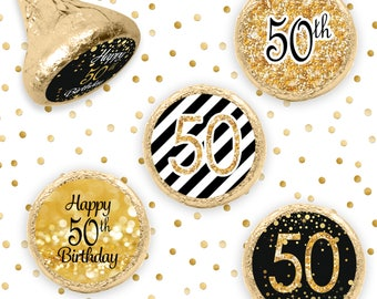 50th Birthday Party Decorations - Black and Gold Birthday Party Favors - Happy 50th Birthday Stickers for Hershey Kisses - 324ct Stickers