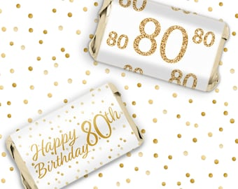 White and Gold 80th Birthday Party Candy Bar Wrapper Stickers for Hershey Miniatures - Gold 80 Birthday Party Favor Decorations - 54 Count