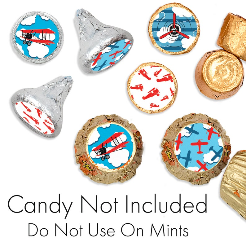 180 Count Airplane Birthday Favor Labels for Hershey/'s Kisses Candy Going Away Party Stickers Red Airplane Party Favor Stickers