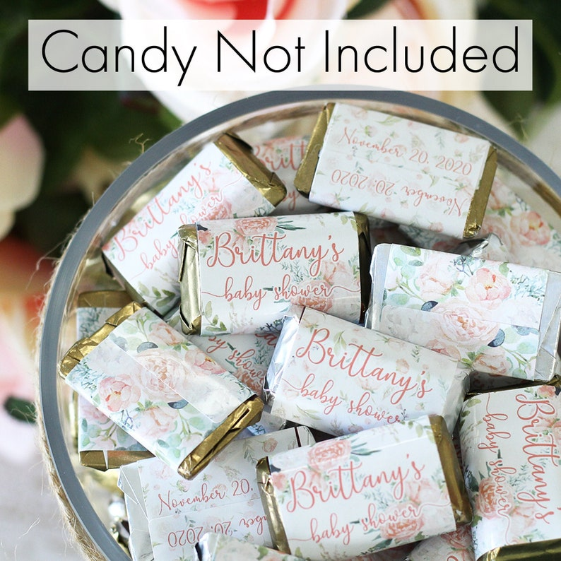 45ct Labels Pink Floral Custom Baby Shower Favor Stickers Personalized Floral Baby Shower Candy Bar Wrappers for Hershey Miniatures