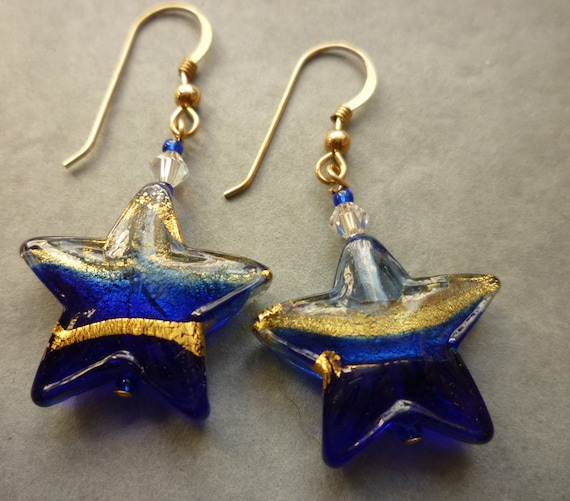 Blue and gold murano glass earrings Curved wire earrings