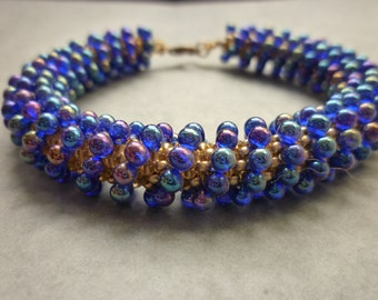 Cobalt blue AB drop beads bracelet with gold filled clasp