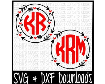 Circle Monogram SVG * Valentine Monogram SVG * Valentine Cut File - dxf & SVG Files - Silhouette Cameo/Cricut