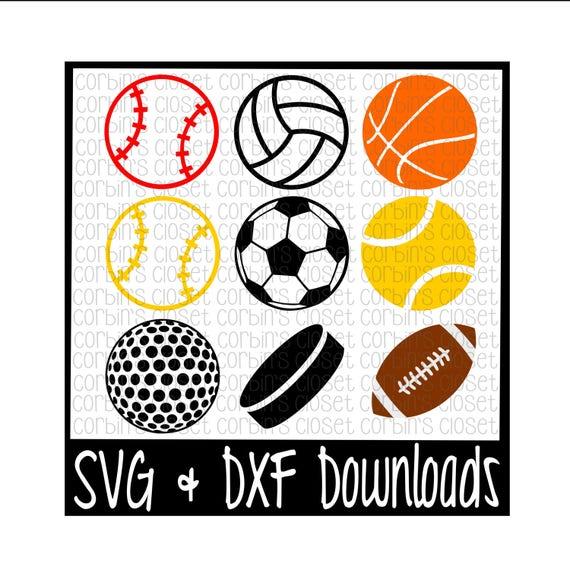 svg sports file cricut cut dxf balls silhouette cameo