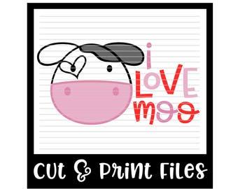 I Love Moo SVG * Valentine Cut File - Pdf Printable, Dxf & SVG Files - Silhouette Cameo, Cricut
