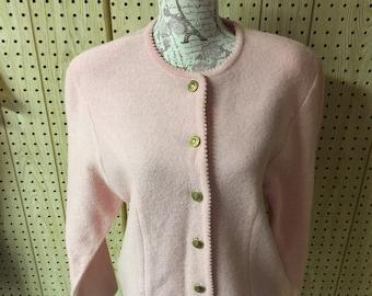 Vintage Tally Ho 100% Soft Wool Jacket Medium Jacket Women's Jacket Ladies Jacket Pink Jacket Cardigan Jacket