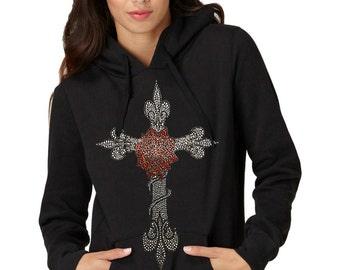 Rose Cross Rhinestone Ladies Pullover Hoodies