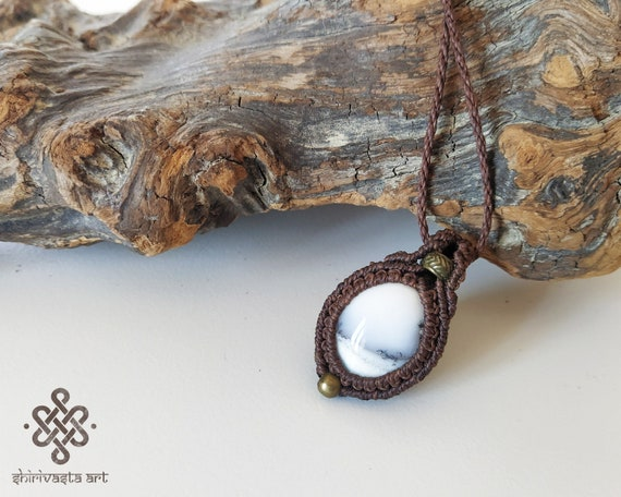 Dendritic Agate Necklace,handmade work with threads,agate gemstone jewelry,