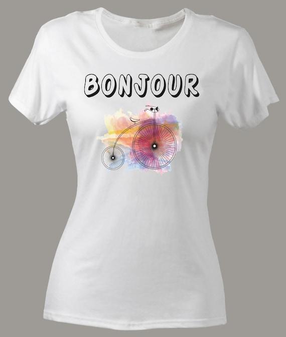SLIM FIT camiseta Bonjour París Bonjour camiseta Amore francés  816f0fbab65c7