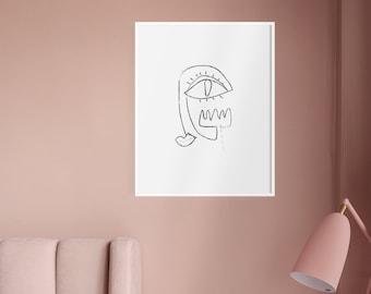 Zeichnung 1 druckbare minimalistische zeile poster schwarz etsy