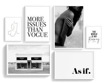Fashion Gallery Wall Printable Set of 6 Printables | Fashionista Posters Set | Ready-Made GalleryWall Art | Art prints bundle | Pre-made Art