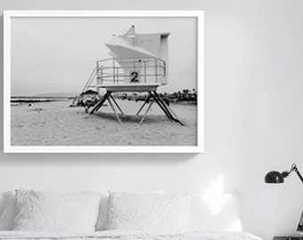Lifeguard Station number 2 | Monica Beach Printable Poster | Downloadable art  | digital file | Cali-cool Design | California Eclectic Decor