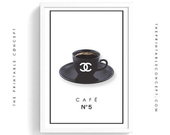Café no5 | Chanel Fashion Poster Printable | Chanel number five wall art | Fashion Coffee wall art print | Fashion digital photography