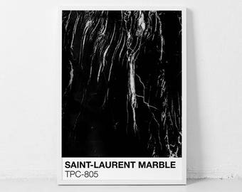 Saint-Laurent MARBLE TPC-805 | Black Marble Printable Poster | Pantone Color wall art | Modern Art Print | Marble Photography print Poster