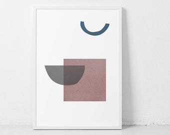 Collage 1  PRINTABLE | Minimal Artwork pink blue abstract collage Poster | Minimalist Scandinavian painting Grey Wall Art grey wall ar