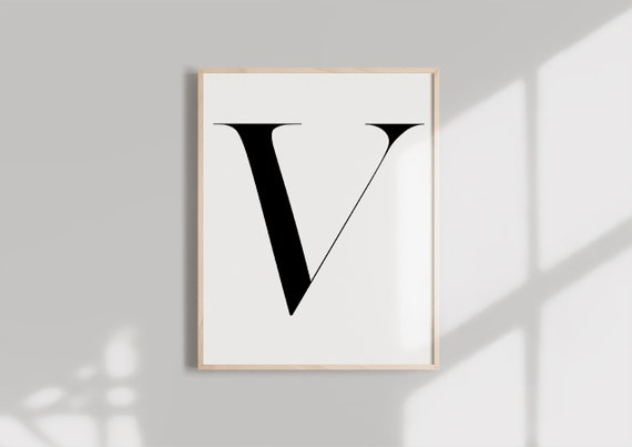 photo about Letter V Printable known as Letter V PRINTABLE Black Alphabet Monogram letter typography wall artwork  Typography electronic down load Initials Poster Marble letter print