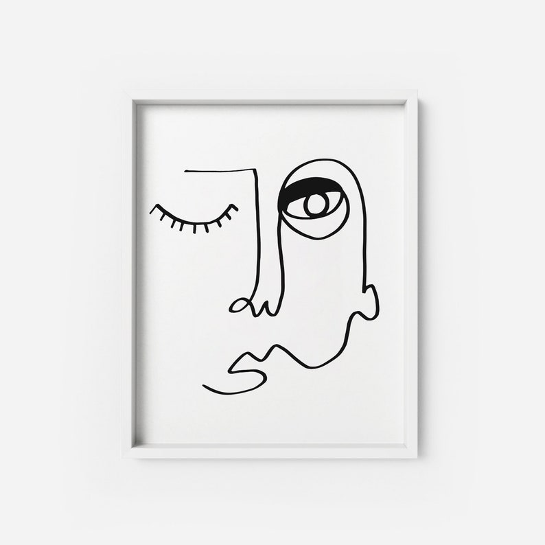 Adunbi ART PRINT | Line Drawing minimalist modern Poster | Minimalist Face  line sketch Black Face Artwork Modern wall art