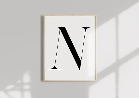graphic regarding Letter N Printable named Letter N PRINTABLE Black Alphabet Monogram letter typography wall artwork  Typography electronic obtain Initials Poster Marble letter print