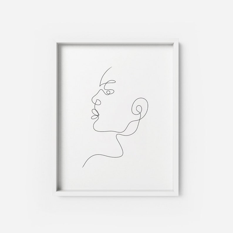 Lilian ART PRINT | Line Drawing minimalist modern Poster | Minimalist Face  line sketch Black Face Artwork Modern wall art