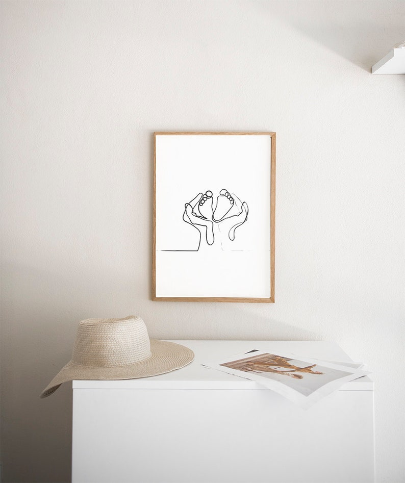 graphic regarding Etsy Printable Wall Art known as Genuine Get pleasure from Nursery PRINTABLE WAll Artwork Child 1 Line Drawing Minimalist small children place Nursery wall decor palms toes Prints Electronic Obtain