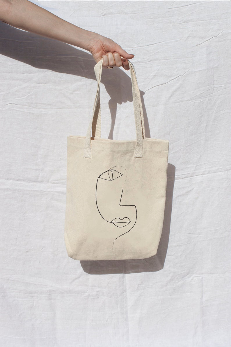 4cf4608bfe Line Drawing 1 Tote Bag Natural beige Market Bag sketch