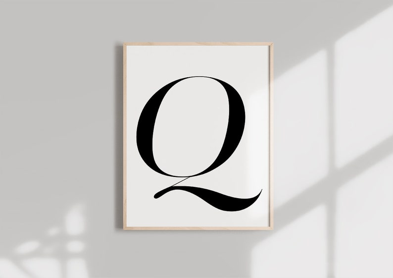 photo about Letter Q Printable titled Letter Q PRINTABLE Black Alphabet Monogram letter typography wall artwork  Typography electronic down load Initials Poster Marble letter print