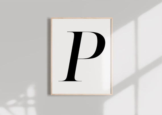 graphic relating to Letter P Printable known as Letter P PRINTABLE Black Alphabet Monogram letter typography wall artwork  Typography electronic obtain Initials Poster Marble letter print
