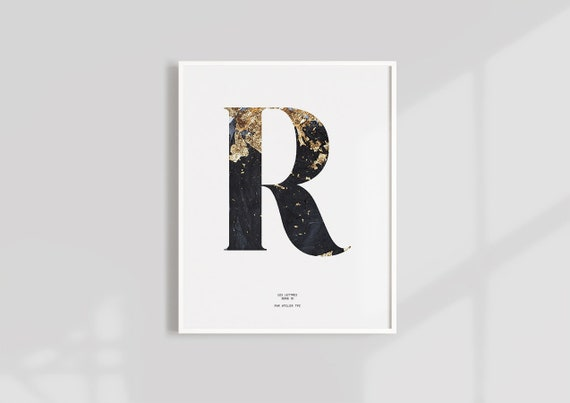 photograph about Printable Letter R known as Letter R Marble PRINTABLE Monogram alphabet letter typography wall artwork  Marble Gold artwork print Initials Poster letter print poster