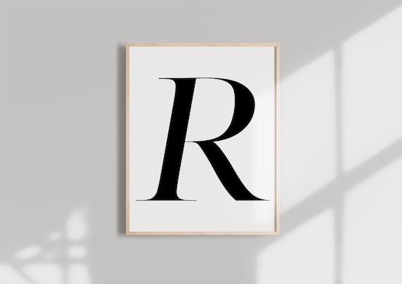 picture regarding Letter R Printable named Letter R PRINTABLE Black Alphabet Monogram letter typography wall artwork  Typography electronic obtain Initials Poster Marble letter print