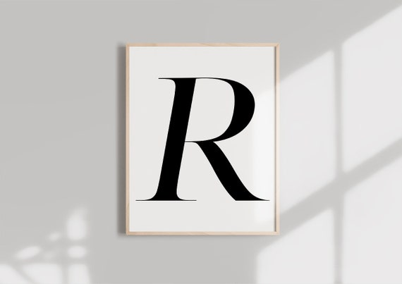 image about Printable Letter R titled Letter R PRINTABLE Black Alphabet Monogram letter typography wall artwork  Typography electronic down load Initials Poster Marble letter print