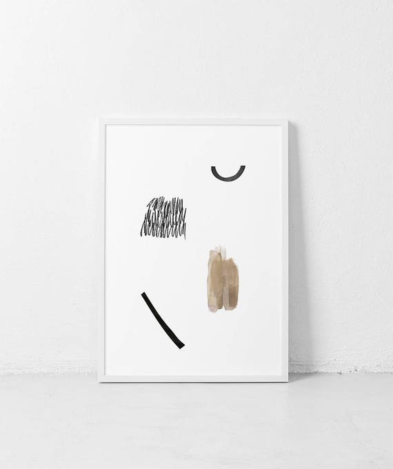 Ethnic abstract  PRINTABLE | Minimalist Scandinavian Poster | Collage  Neutral tones Art Print | Abstract minimalist Poster tribal painting