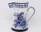RARE 7 quot Antique Royal Doulton pitcher, ceramic, ironstone, from early 1900s, water or milk jug, blue and white transferware, man in a boat